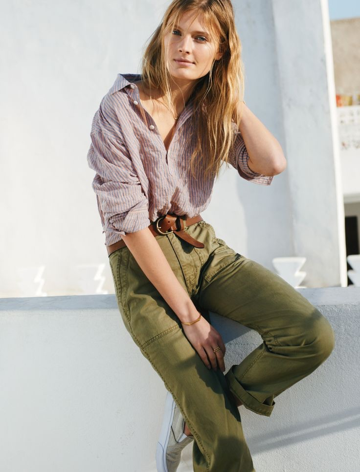 Madewell Ollie Pants, Rivet & Thread Seersucker Shirt and Perfect Leather Belt