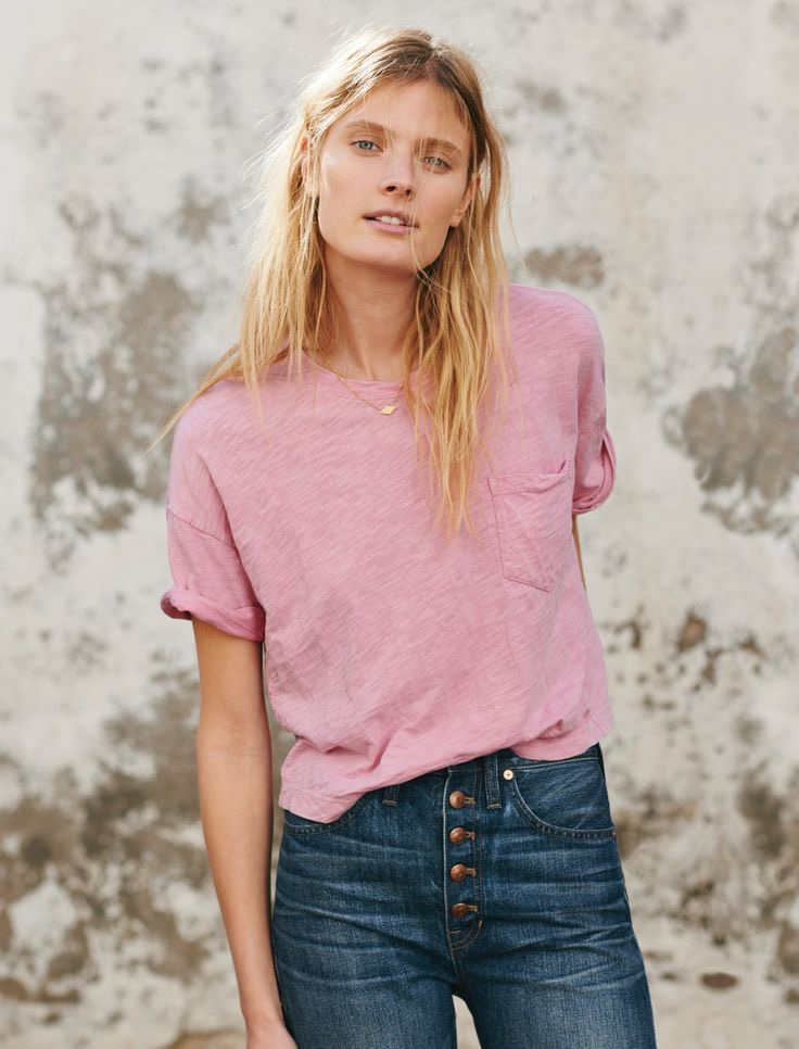 Madewell Garment-Dyed Pocket Tee, Flat Diamond Necklace and Rivet & Thread Boyjean