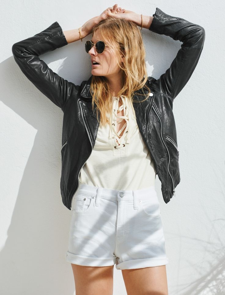 Madewell Libra Lace-Up Tee, Fest Aviator Sunglasses and Motorcycle Jacket