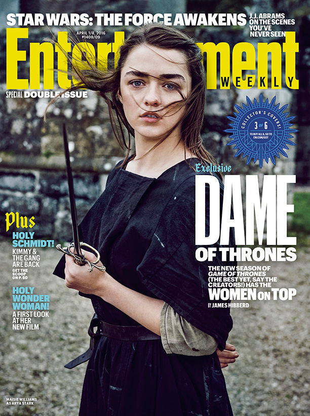 Maisie Williams as Arya Stark on Entertainment Weekly April 2016 Cover