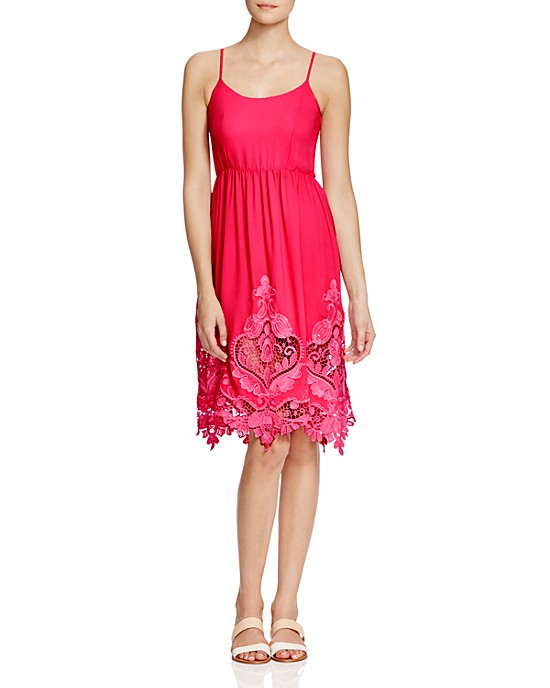 Maje Rayai Embroidered Dress in Pink