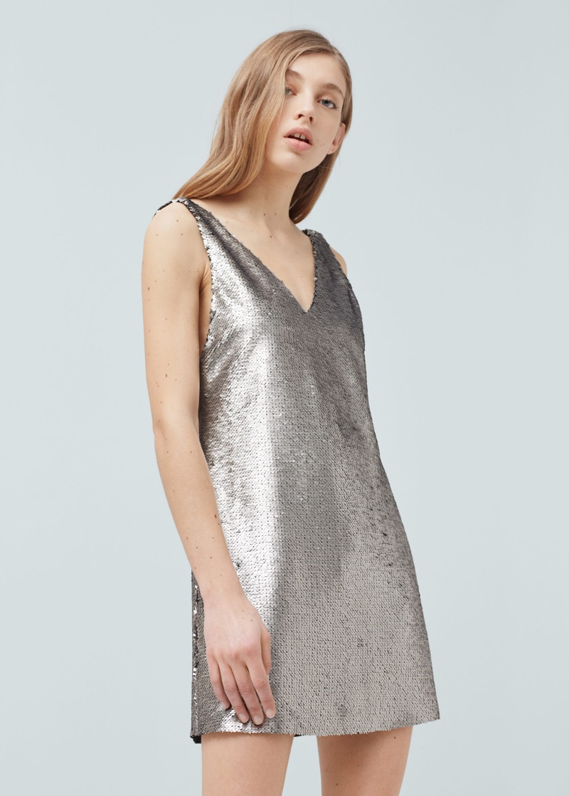 Mango Silver Sequined Dress
