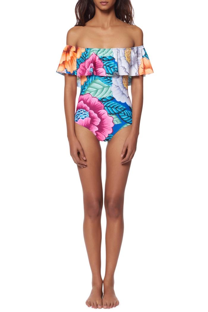 Mara Hoffman Ruffle Shoulder One-Piece Swimsuit
