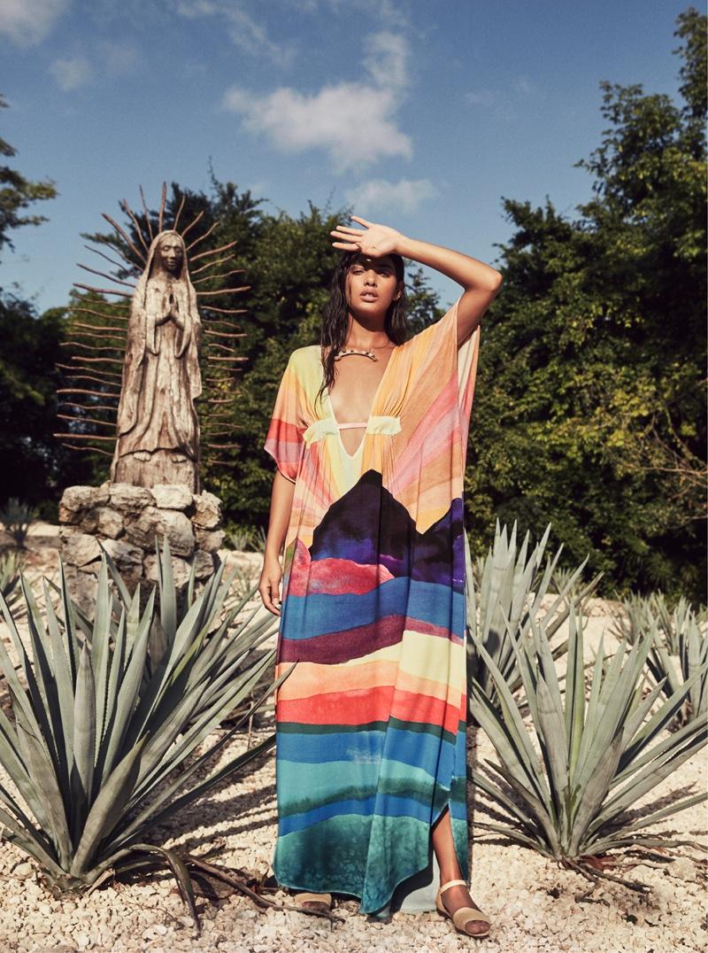 Captured in Mexico, Mara Hoffman's spring 2016 lookbook includes a multi-colored kaftan