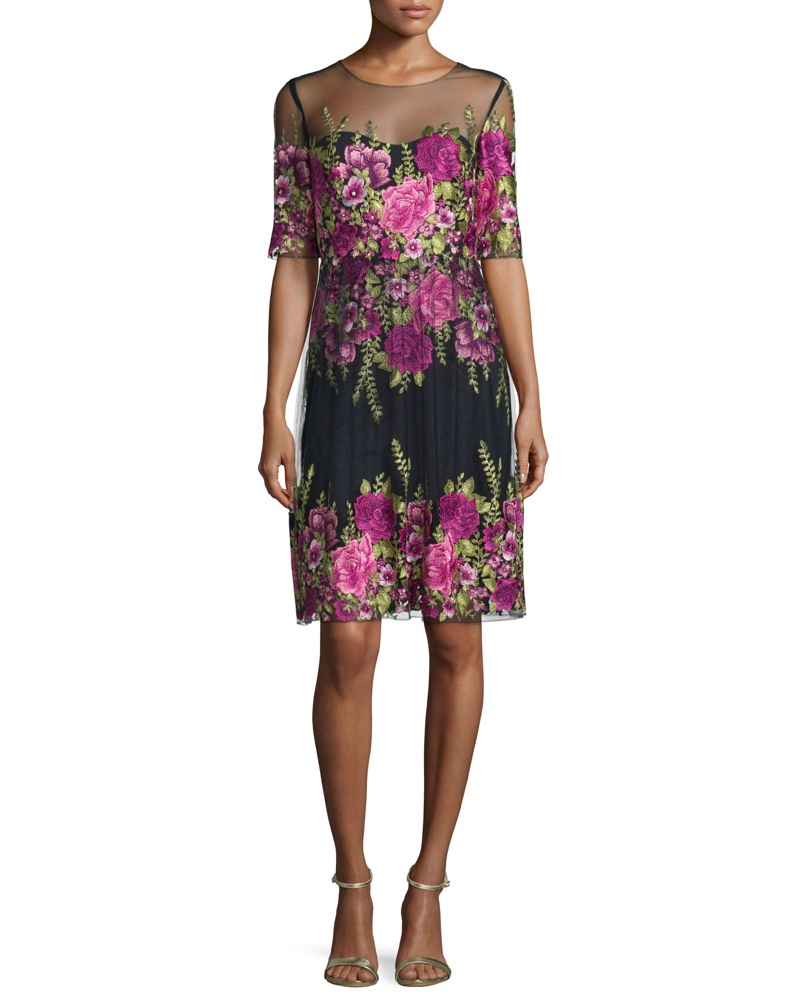 Marchesa Notte Half Sleeve Floral Embroidered Popover Dress