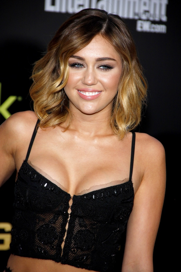 Miley cyrus hairstyle timeline from long to short cloverdesain miley cyrus wore a medium length ombre haircut at a 2012 hunger games event urmus Images