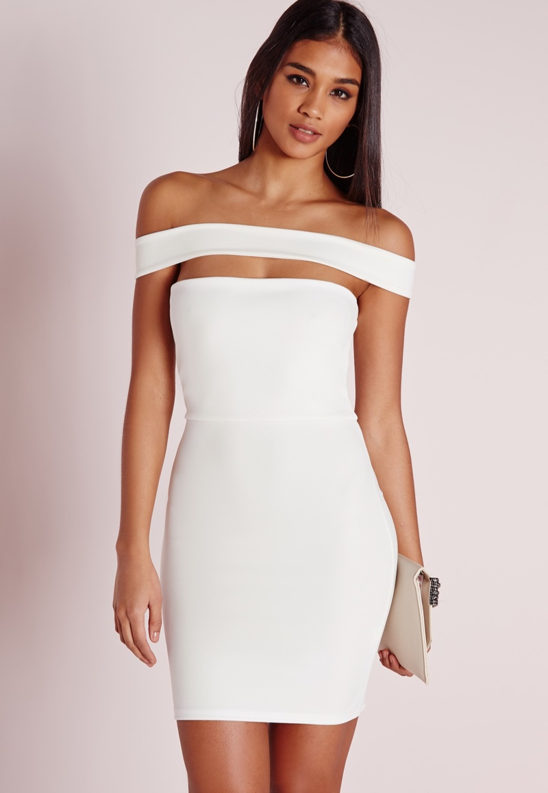 Missguided Cut Out Panel Bardot White Dress
