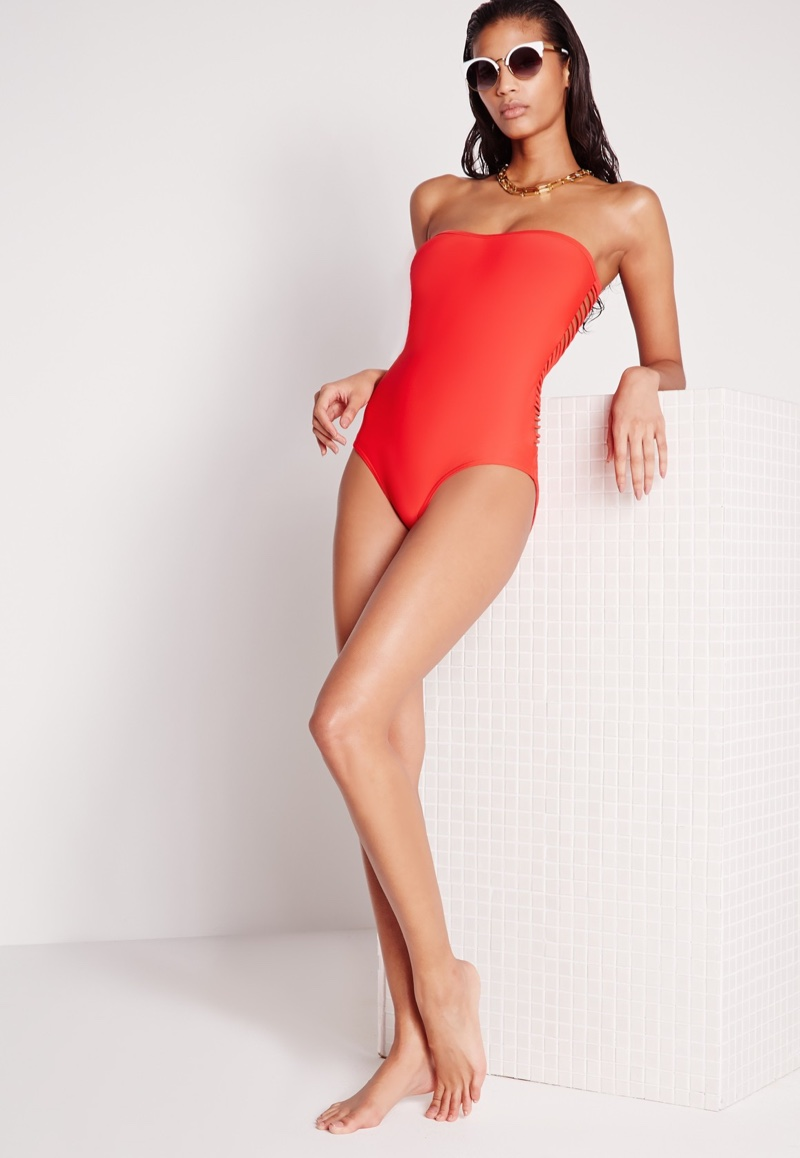 Missguided Red Strappy Back Swimsuit