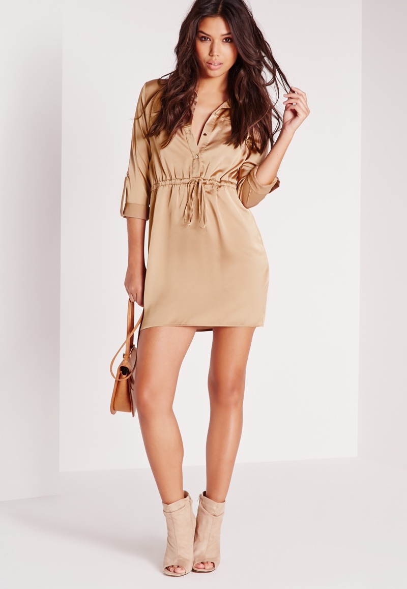 Missguided Silk Tie Waist Dress