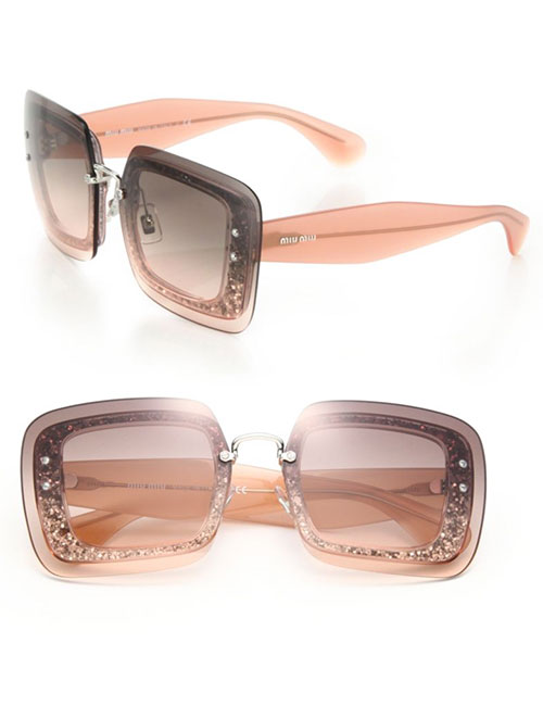 Miu Miu Glittered Square Layered Sunglasses