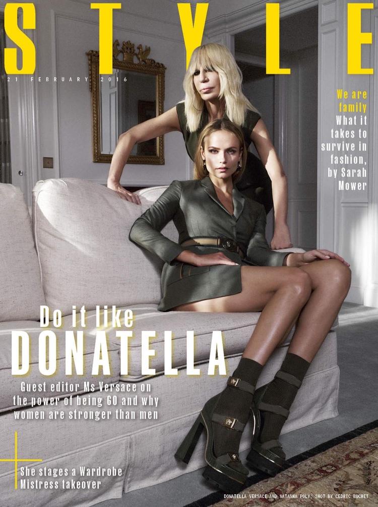 Natasha Poly and Donatella Versace on Sunday Times Style February 21, 2016 cover