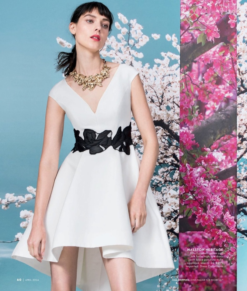 Halston Heritage has a high low proposal with a cotton and silk dress in white and black
