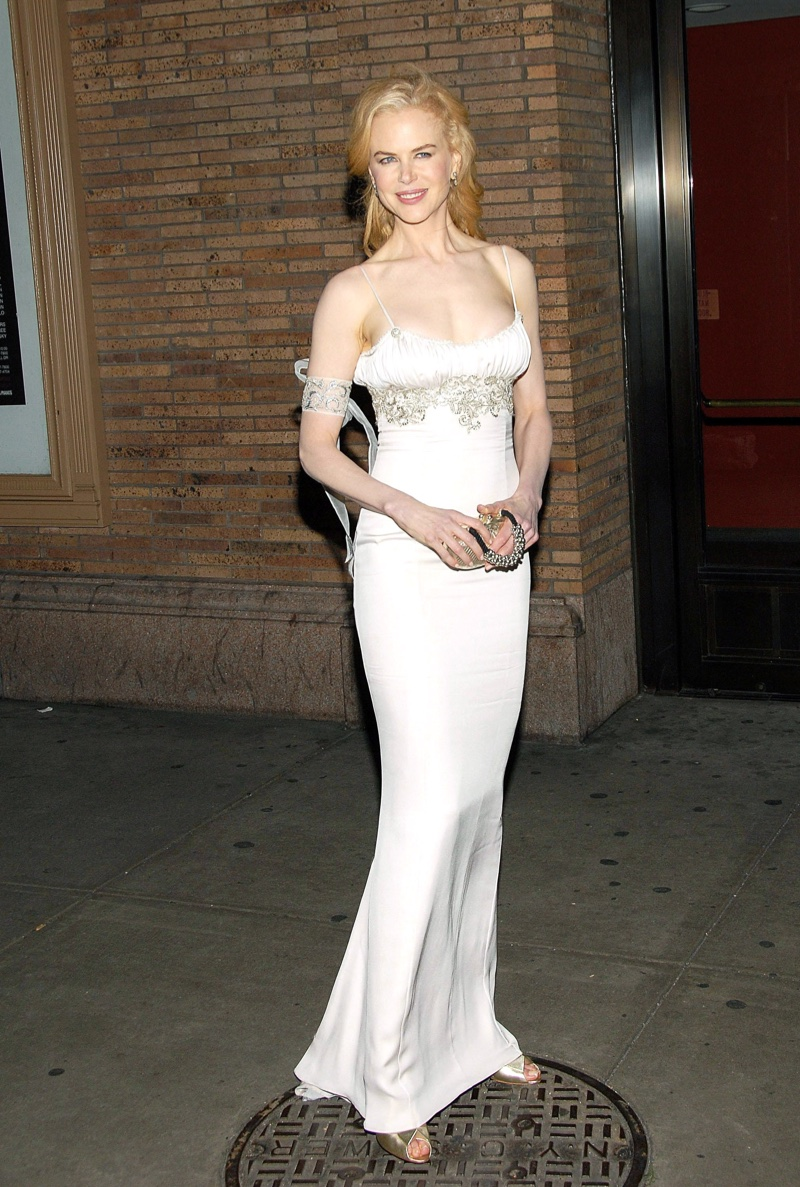 Nicole Kidman dressed up the slip dress in a white L'Wren Scott gown adorned with crystals. Photo: Everett Collection / Shutterstock.com
