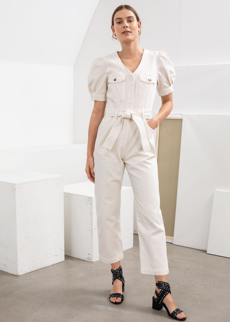 & Other Stories Belted Puff Sleeve Denim Jumpsuit $99
