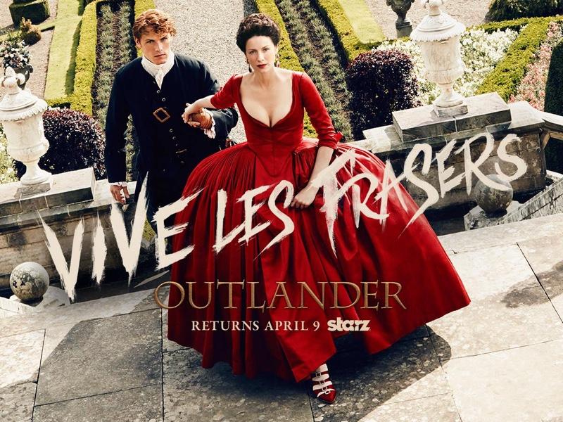 Caitriona Balfe and Sam Heughan on Outlander Season 2 poster. Photo: Starz