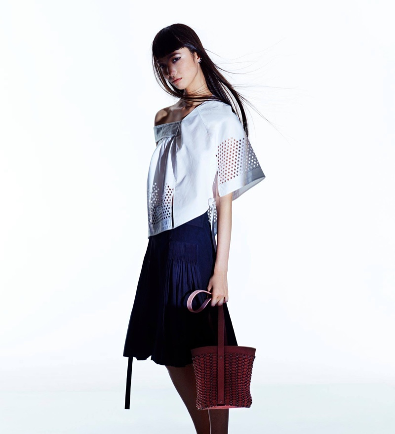 Paco Rabonee Poplin & Eyelet Top, Combo Wrap-Front Skirt and 14#01 Seau Bucket Bag