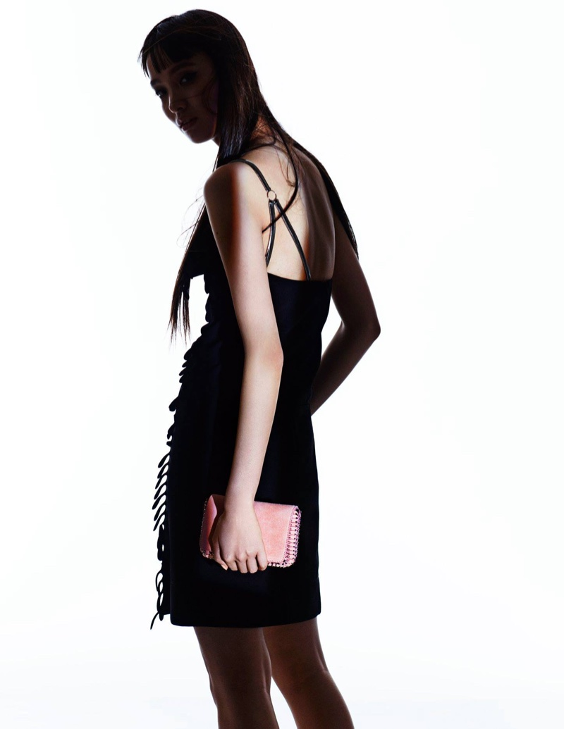 Paco Rabanne Bijou-Strap Fringed Dress and 14#01 Chain Mini Crossbody Bag
