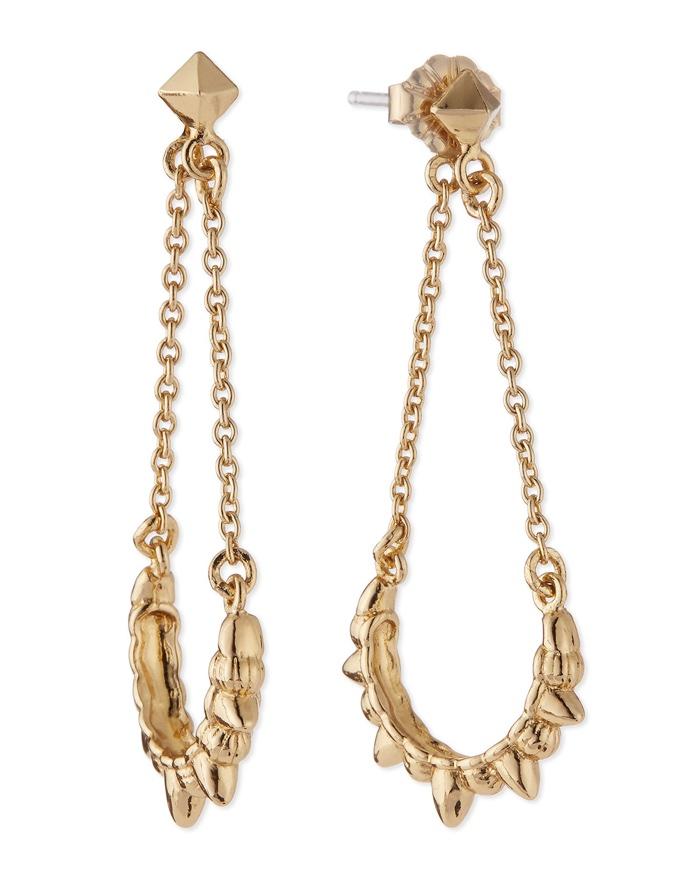 Pamela Love Tribal Spike Chain Drop Earrings - Gold Plated