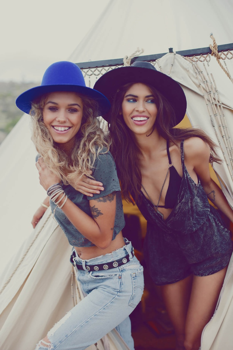 Juliana and Yvonne look casual chic in a denim and romper look