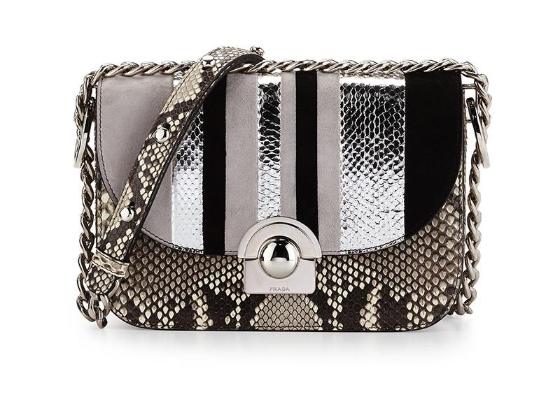 Prada Python Suede Striped Shoulder Bag