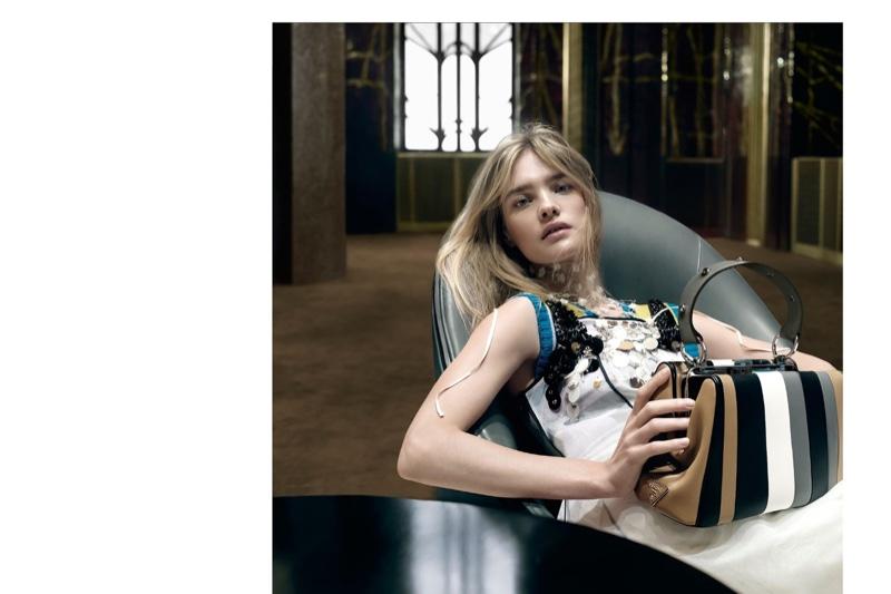 Natalia Vodianova poses with Prada striped bag in spring 2016 campaign 1df3420a05c1