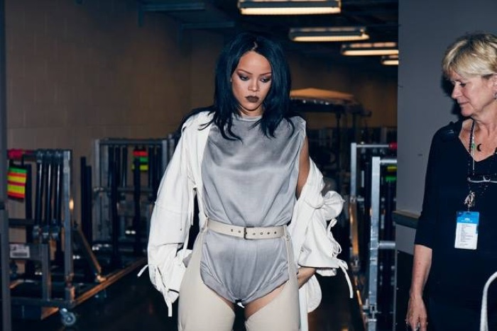 Rihanna wears custom Giuseppe Zanotti boots on her Anti world tour. Photo: Dennis Leupold