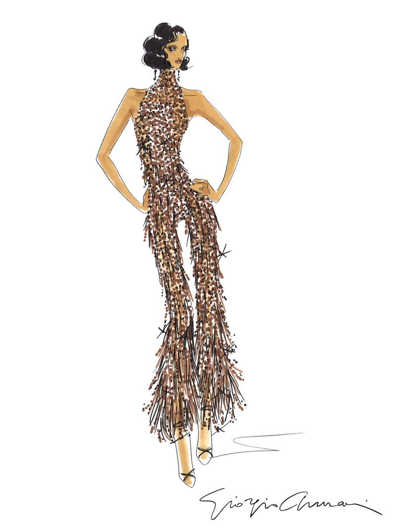 A sketch of Rihanna's brown jumpsuit with Swarovski crystals that she wears at the Anti world tour. Photo: Armani