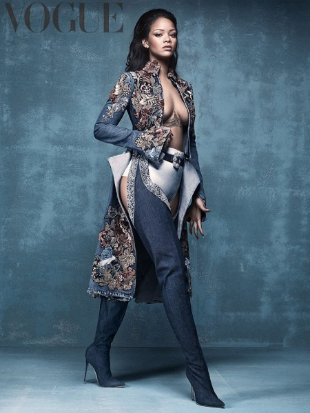 Rihanna wears her Manolo Blahnik shoe collaboration in Vogue UK's April issue