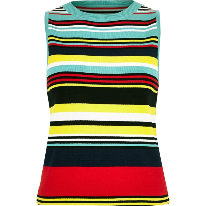 River Island Blue Striped Knit Top