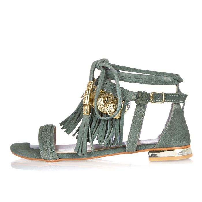 River Island Green Leather Tassel Coin Sandal