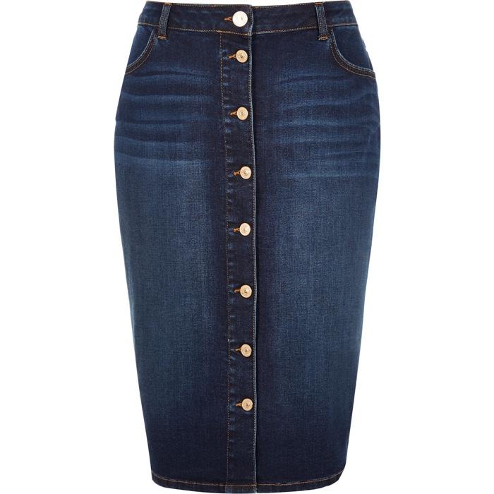 River Island Plus Blue Denim Button Up Skirt