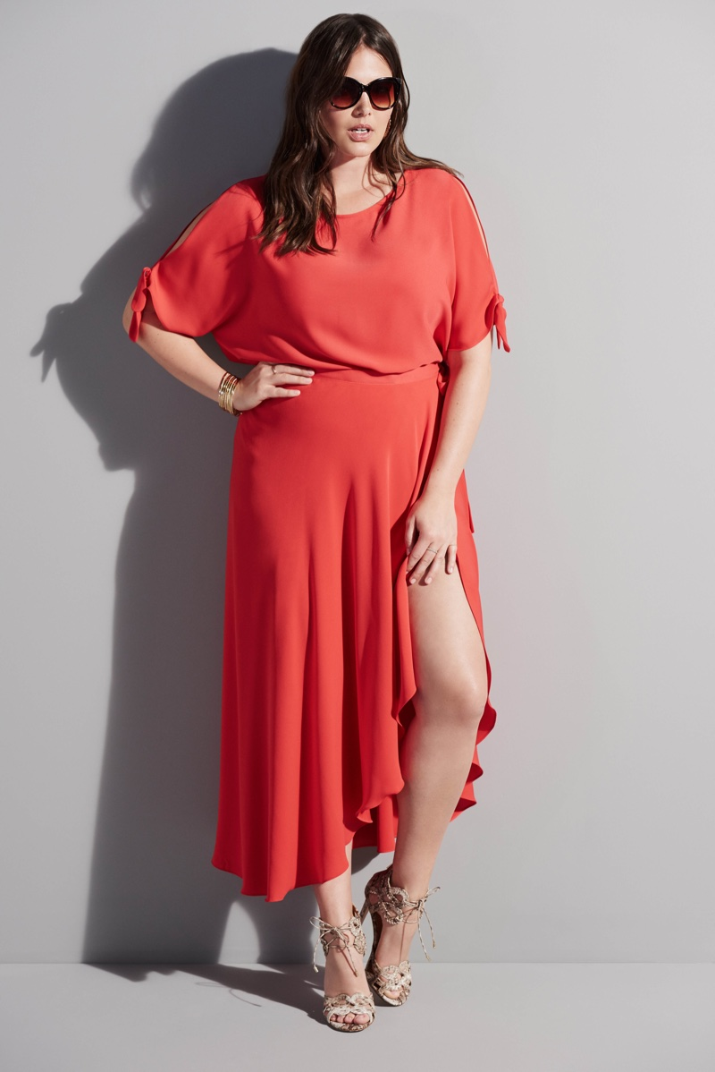 Candice Huffine models a red dress with pleating from River Island's spring 2016 plus size collection