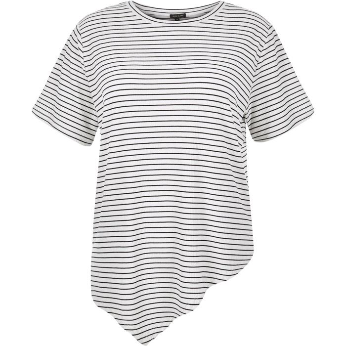 River Island Plus Striped Asymmetric Hem T-Shirt