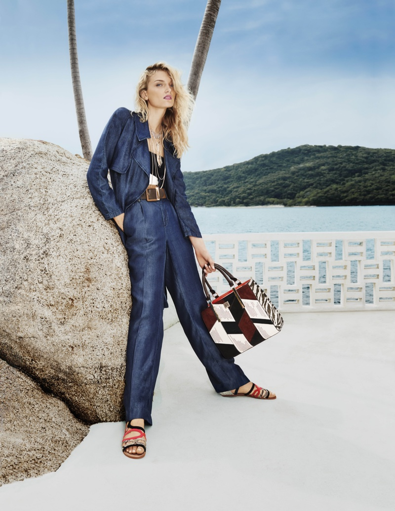 Lily Donaldson models denim jacket and pants from River Island's spring-summer 2016 collection