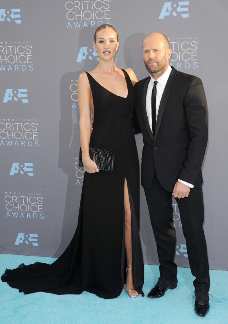 JANUARY 2016: Rosie Huntington-Whiteley and Jason Statham attend the 2016 Critics Choice Awards. Photo: Tinseltown / Shutterstock.com
