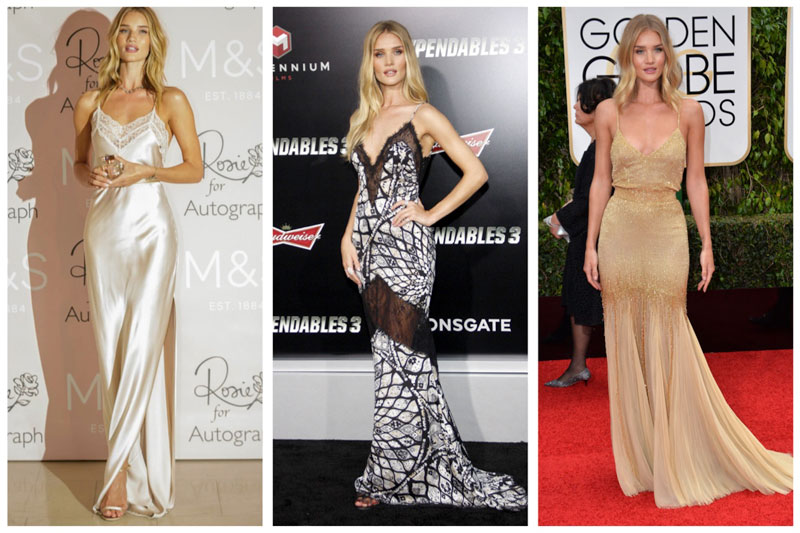 Rosie Huntington-Whiteley certainly knows how to wear the slip dress. Here she is at three separate events featuring gorgeous styles. (Left) Rosie wears an Autograph by Rosie slip dress (Middle) Rosie poses in Emilio Pucci slip dress (Right) Rosie wears a beaded Atelier Versace slip dress (Photos: Marks & Spencer / Shutterstock.com)