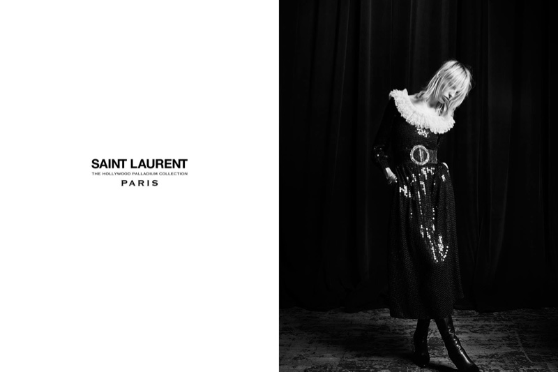 Lili Sumner models sequin embellished dress with ruffled collar from Saint Laurent's 2016 Palladium collection