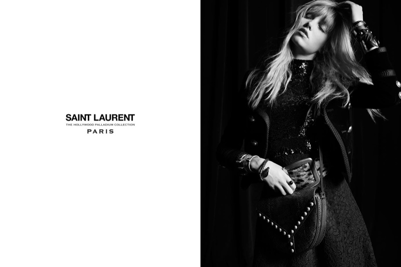An embroidered saddle bag is front and center in Saint Laurent's Palladium 2016 campaign