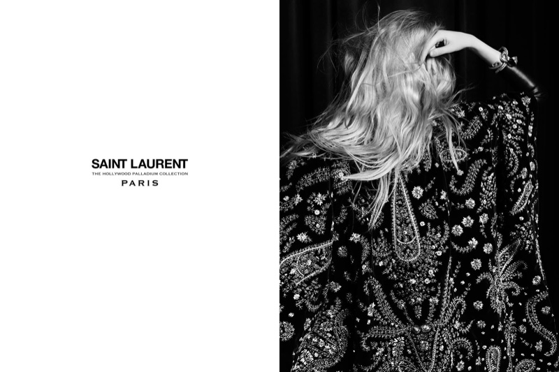 Closeup detail of embroidered Saint Laurent cape from 2016 Palladium collection