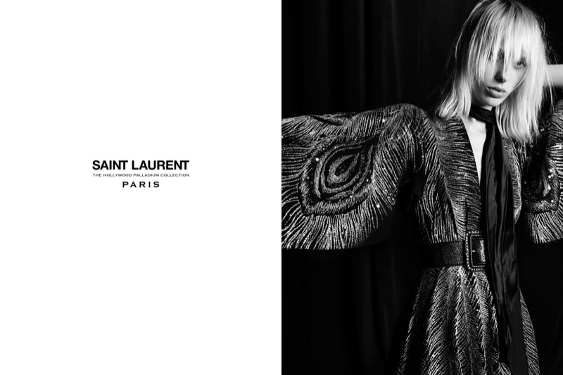 Photographed by Hedi Slimane, Lily Sumner wears embroidered dress from Saint Laurent's Palladium 2016 collection