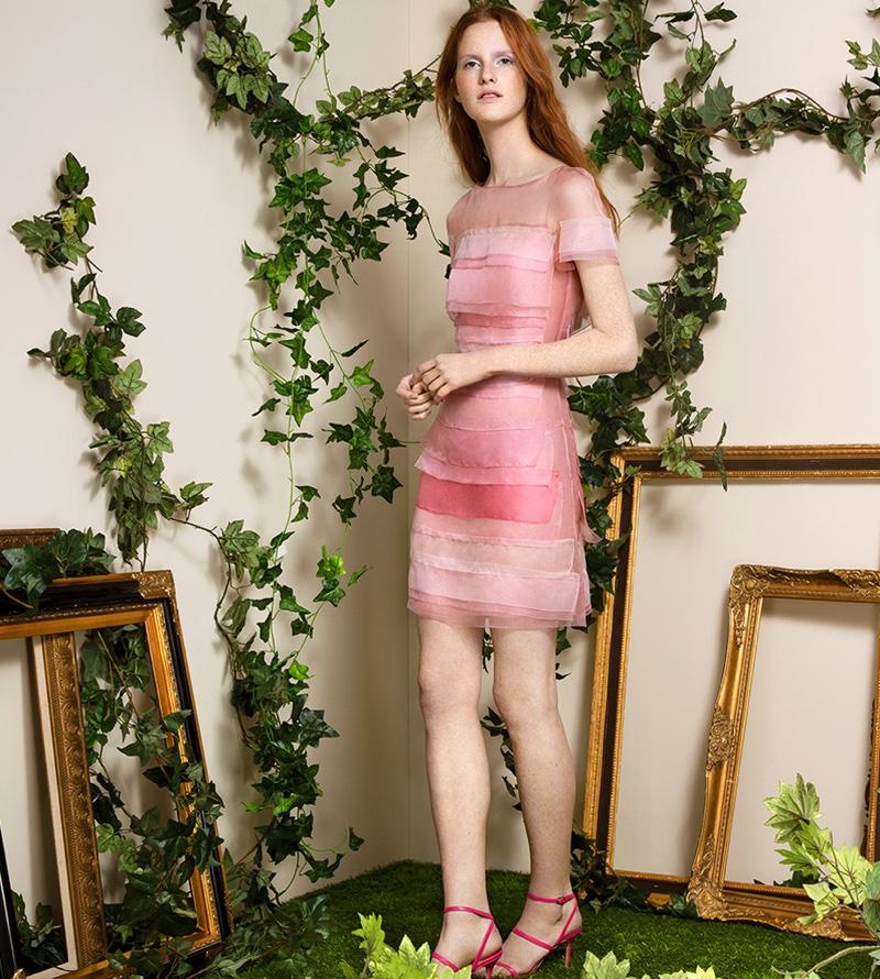 Carolina Herrera Layered Silk Dress and Manolo Blahnik Didin Wrap-Around Leather Sandals