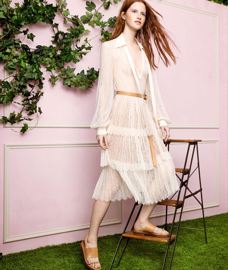 Michael Kors Collection Chantilly Lace Top, Tiered Chantilly Lace Skirt and Skye Runway Leather Slide Sandals
