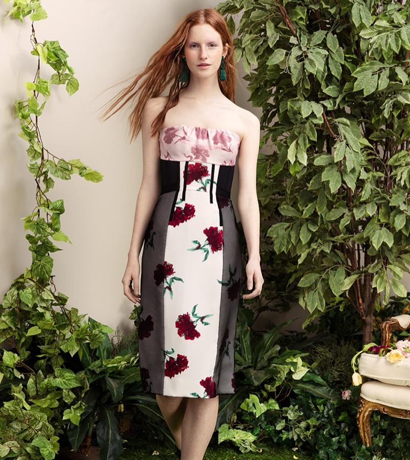 Oscar de la Renta Strapless Floral Print Dress and Tassel Drop Earrings