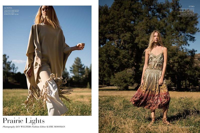Juliana Schurig Models Folk Fashion for Saks Fifth Avenue