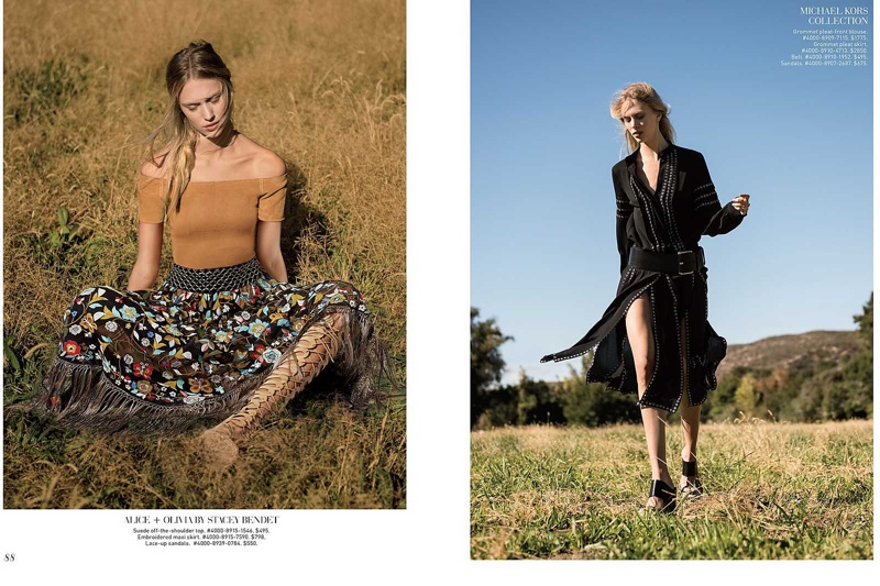 The model poses outdoors in folk inspired looks for the fashion editorial