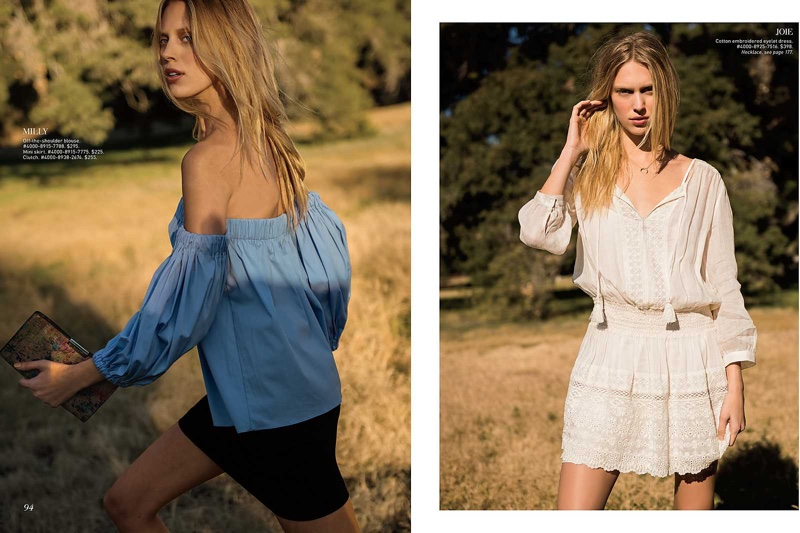 Juliana Schurig models Milly off-the-shoulder blouse, mini skirt and clutch (L) Juliana poses in Joie cotton embroidered eyelet dress (R)