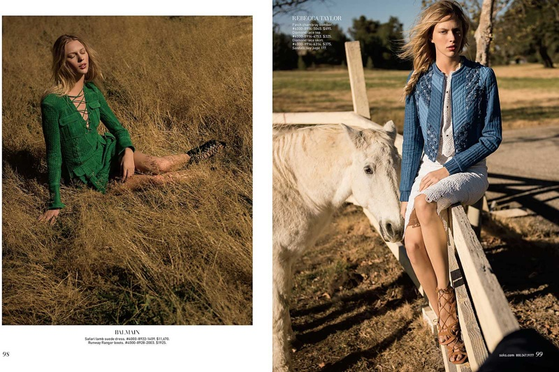Lounging in the outdoors, Juliana models a green Balmain dress (L) and Rebecca Taylor patch chambray bomber with lace top and skirt (R)