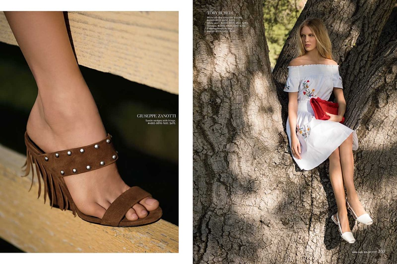 Get ready for sandal season in Giuseppe Zanotti suede wedge sandal with fringe (L) Juliana models Tory Burch white off-the-shoulder blouse and skirt (R)