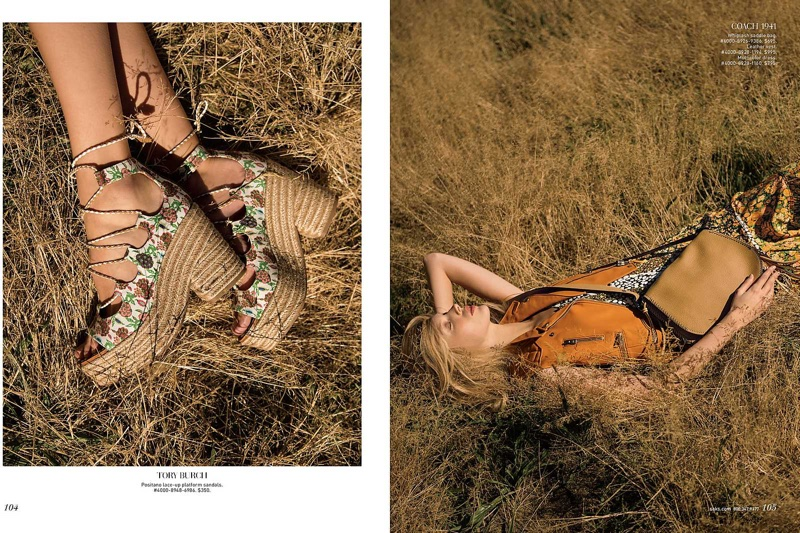 The editorial focuses on Tory Burch platform sandals (L) and Coach 1941 leather vest, multi-colored dress and whiplash saddle bag (R)