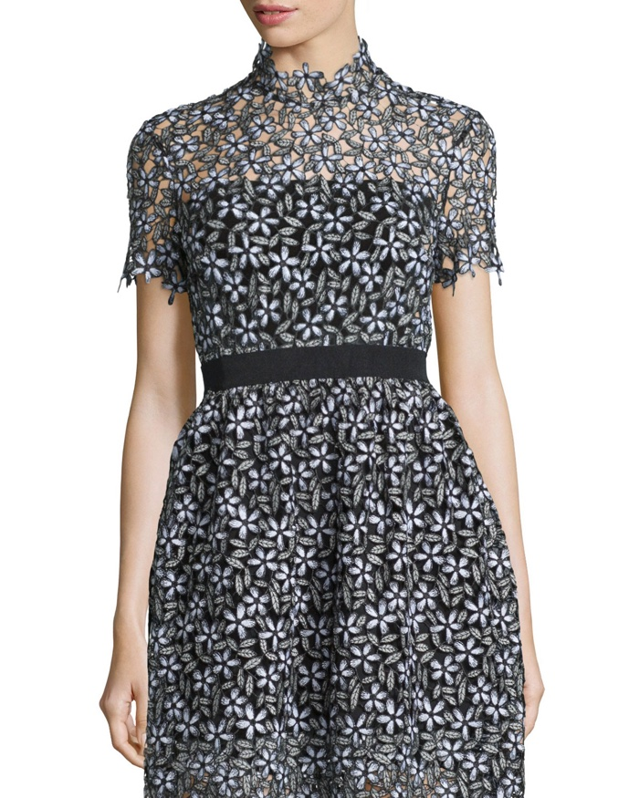 Self Portrait Daisy Lace Short Sleeve Cropped Tee and Skirt